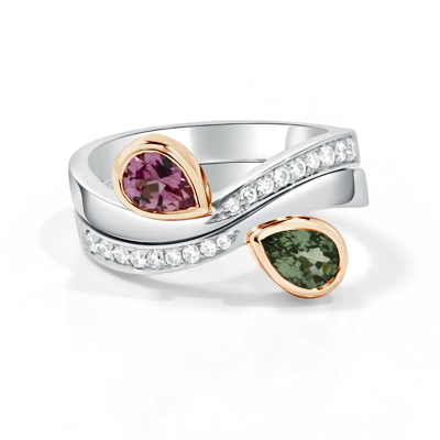 Custom Designed Pink & Green Spinel Twin Rings